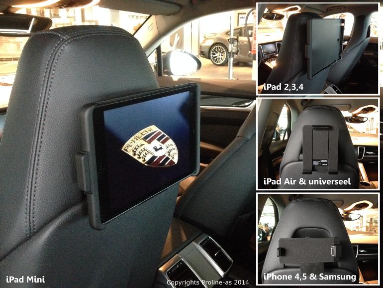 inCarBite Porsche Panamera iPad hoofdsteun houder voor op de kuipstoelen